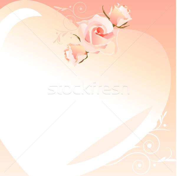 Foto stock: Marco · rosa · rosas · aumentó · diseno