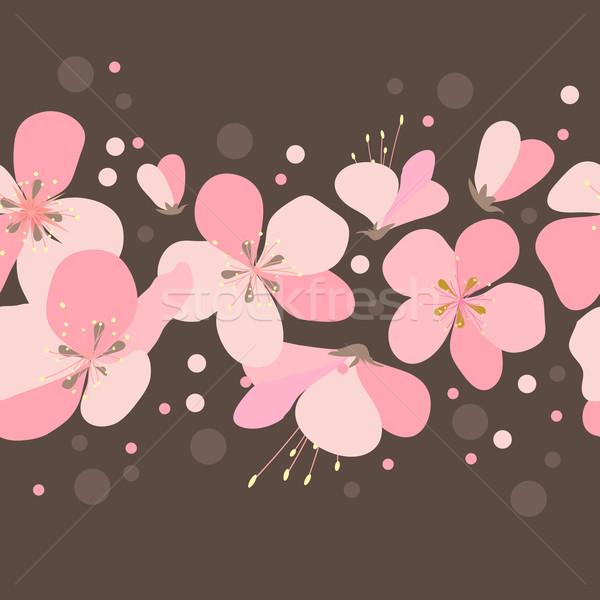 Foto stock: Floral · sem · costura · fronteira · rosa · cereja · flores