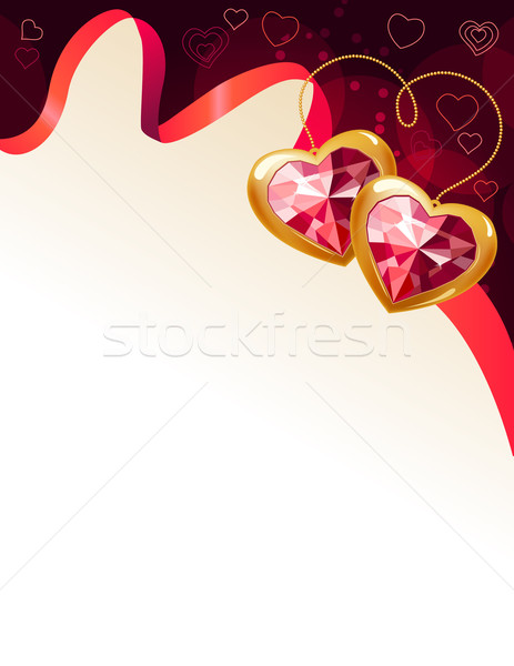 Red background with ribbon and gems Stock photo © nurrka