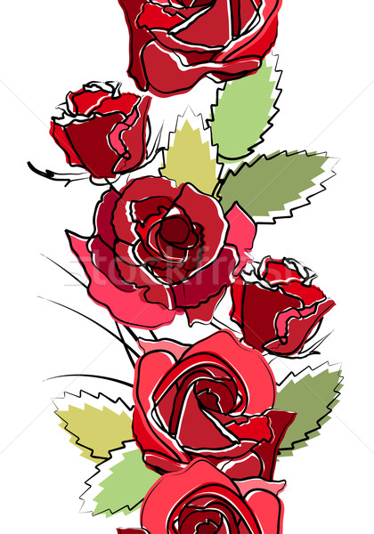 Seamless vertical border with red roses Stock photo © nurrka