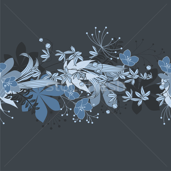 Seamless horisontal floral blue pattern Stock photo © nurrka