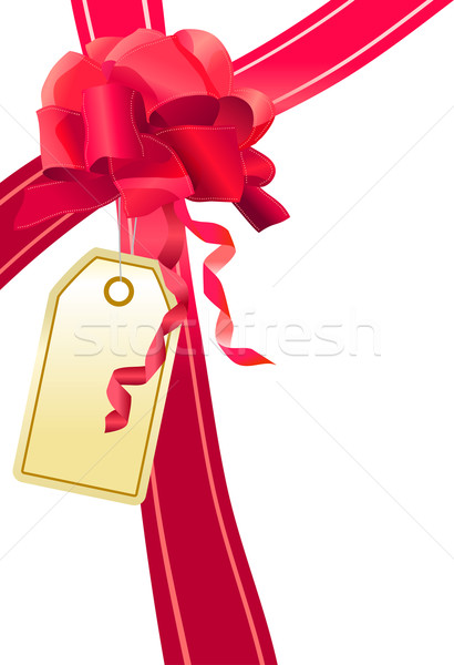 Red bow with label Stock photo © nurrka