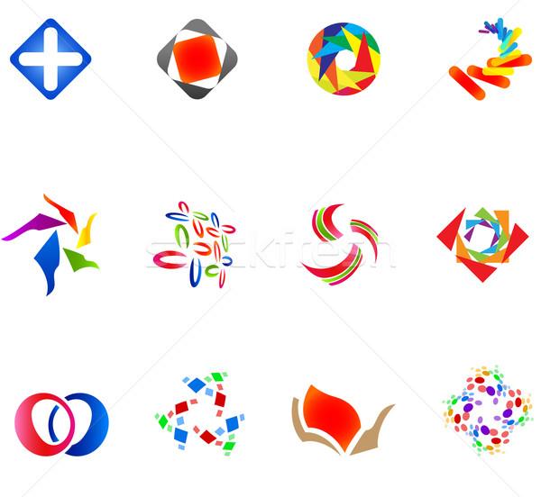 12 színes vektor szimbólumok szett 14 Stock fotó © nurrka