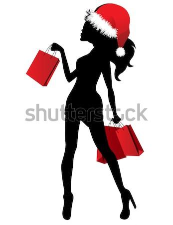 ストックフォト: シルエット · 若い女性 · 袋 · 黒 · 赤 · 女性