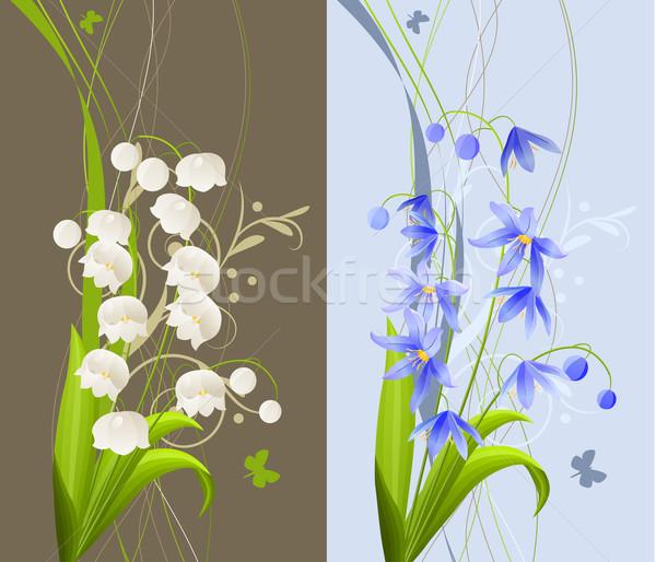 Foto stock: Colección · flores · de · primavera · dos · bastante · romántica · banners