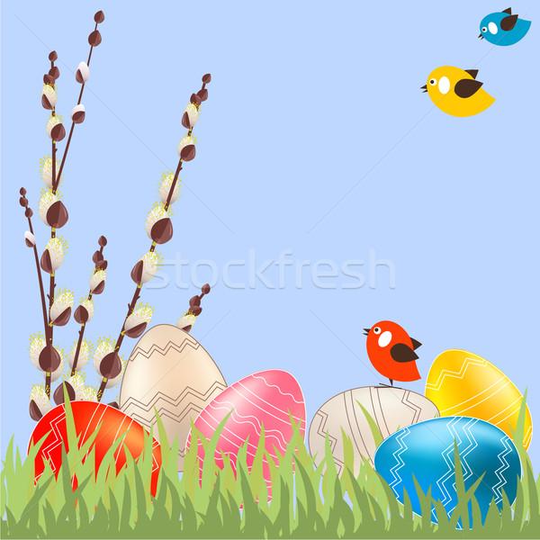Stock fotó: Húsvét · fűzfa · ágak · tojások · tavasz