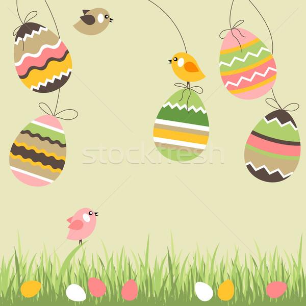 Stock fotó: Festett · tojások · madarak · húsvéti · tojások · fény · bézs