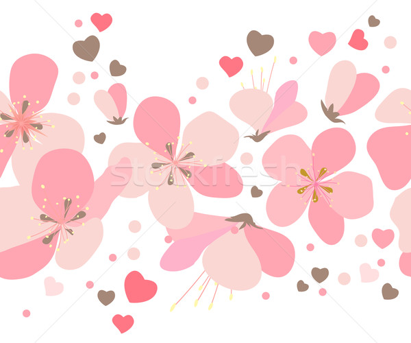 Seamless floral border with pink cherry flowers Stock photo © nurrka