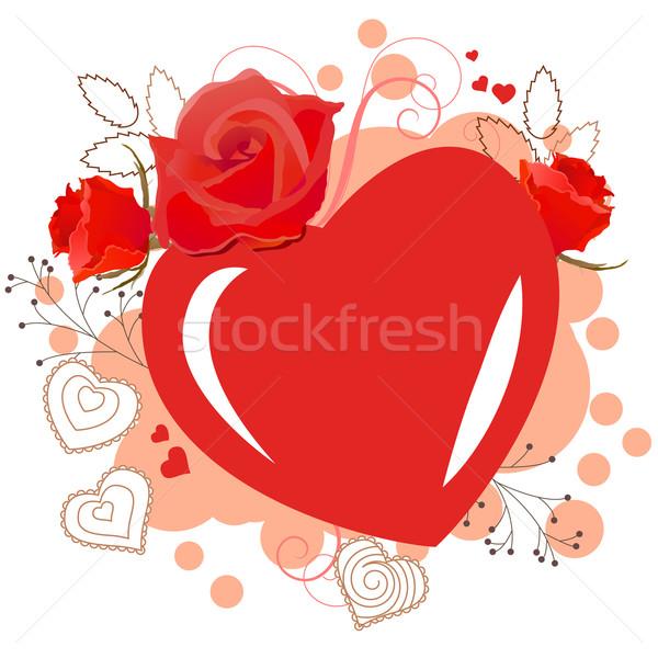 Keret fényes piros rózsák örvények virág Stock fotó © nurrka