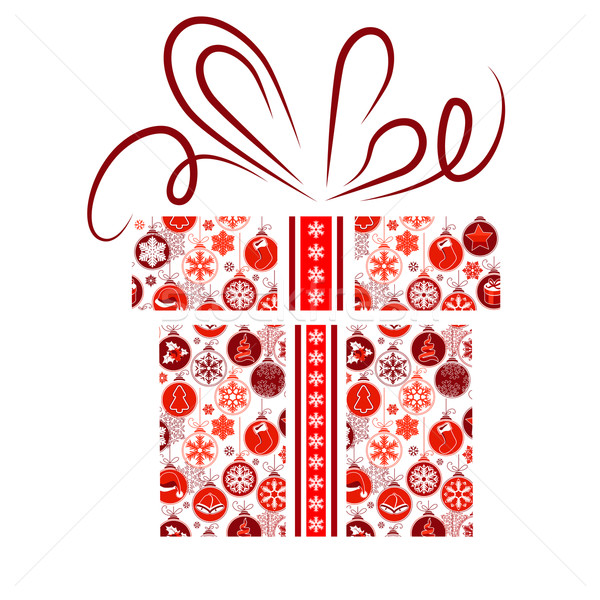 Stock photo: Gift box made of Christmas symbols