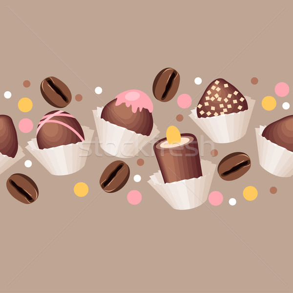 Seamless pattern with chocolate sweets Stock photo © nurrka