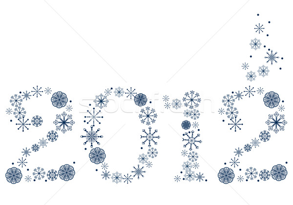 New year 2012 made of snowflakes Stock photo © nurrka