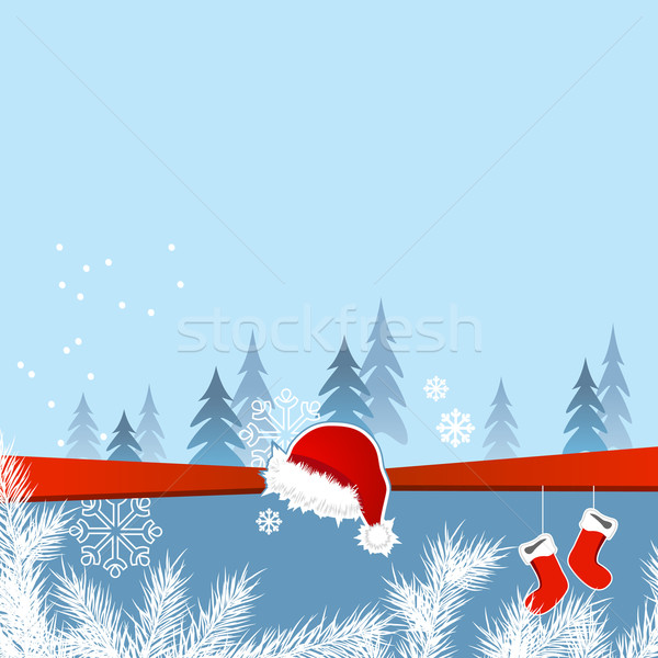 Christmas greeting card with santa cap and socks Stock photo © nurrka