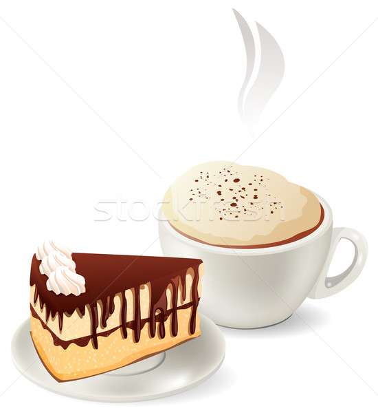 Cup of hot coffee with cake Stock photo © nurrka