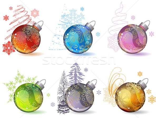 Stock fotó: Különböző · karácsony · üveg · golyók · körvonal · hópelyhek