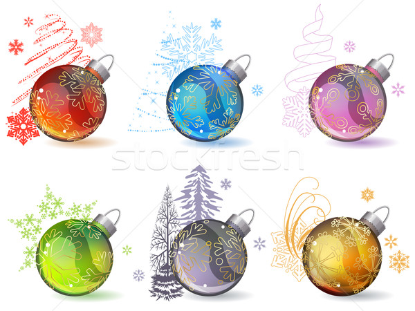 Diferente natal vidro contorno flocos de neve Foto stock © nurrka