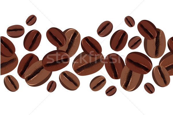 Seamless border with coffee beans Stock photo © nurrka