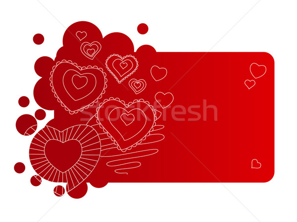 Red frame with contour hearts Stock photo © nurrka
