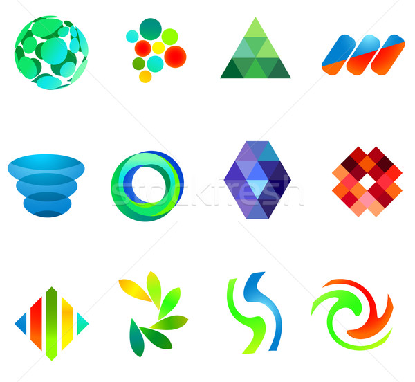 12 colorful vector symbols: (set 18) Stock photo © nurrka