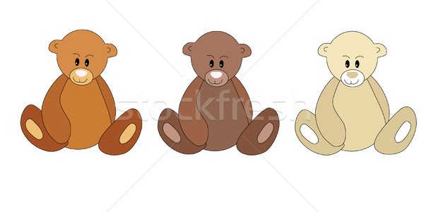 Three different color teddy bears Stock photo © nurrka