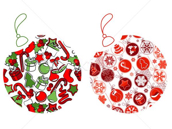 Karácsony golyók szimbólumok kettő terv háttér Stock fotó © nurrka