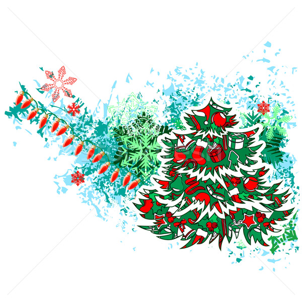 Christmas Tree with Modern Grunge Elements Stock photo © nurrka