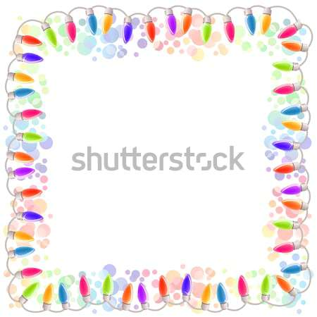 Festive blank frame with garland Stock photo © nurrka