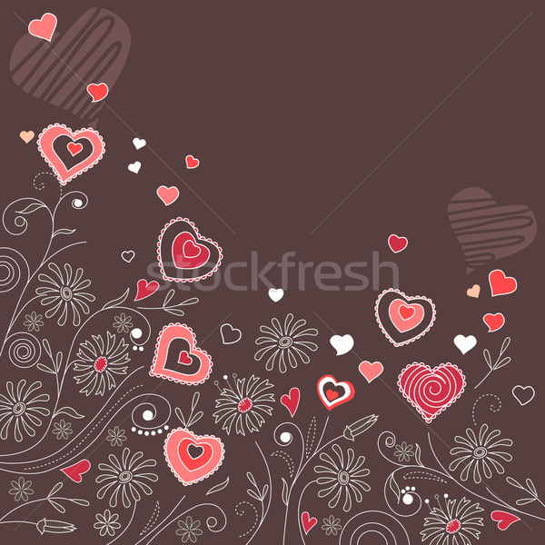 Contour hearts on dark background Stock photo © nurrka