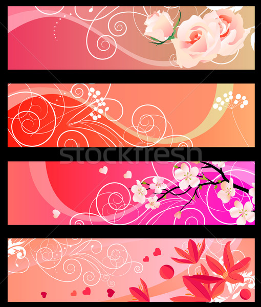 Floral spring red banners Stock photo © nurrka