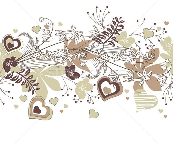 Végtelenített keret erdő virágok növények szívek Stock fotó © nurrka
