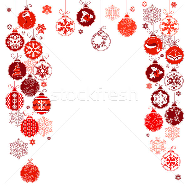 Blank Christmas frame with hanging balls Stock photo © nurrka