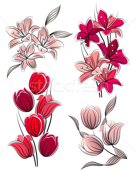 Set of stylized flowers Stock photo © nurrka