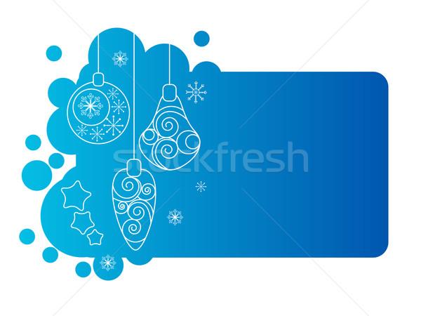 Bleu Noël cadre décorations contour résumé Photo stock © nurrka