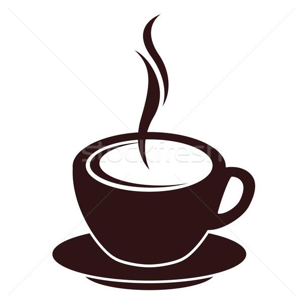 Siluet kahve fincanı buhar beyaz su kahve Stok fotoğraf © nurrka