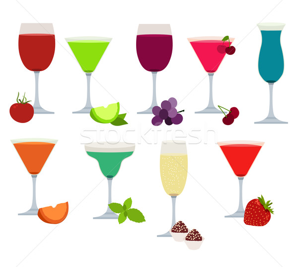 Set of different party drinks Stock photo © nurrka