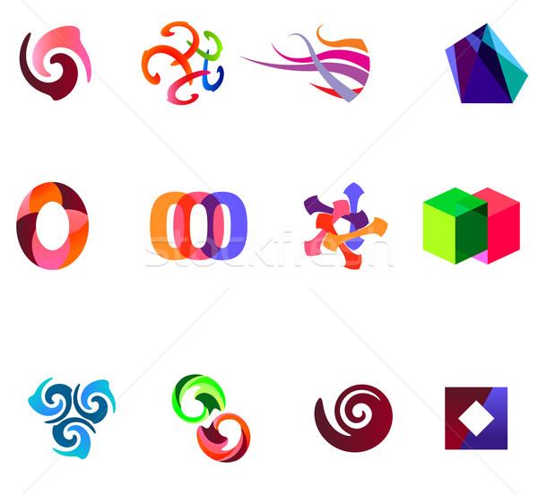12 színes vektor szimbólumok szett 19 Stock fotó © nurrka