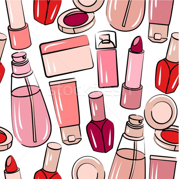 различный косметики бесшовный розовый шаблон Сток-фото © nurrka