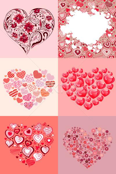 Establecer diferente corazones moderna colección seis Foto stock © nurrka