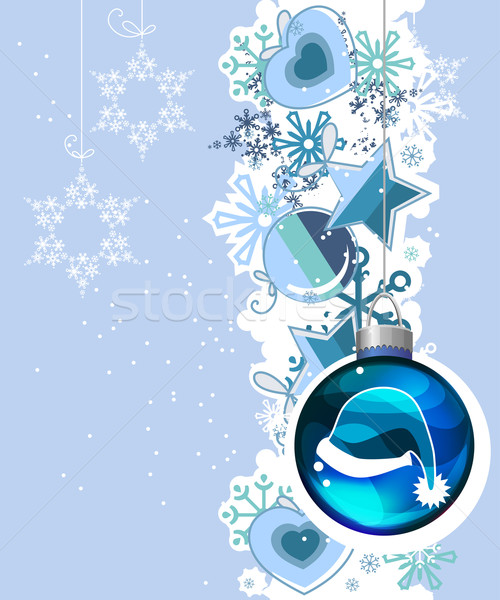 Blue Christmas background with hanging balls Stock photo © nurrka