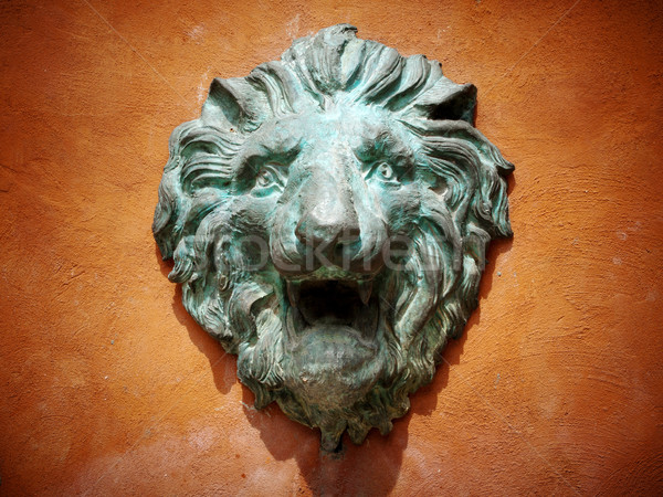 Cast green metal lion head Stock photo © nuttakit