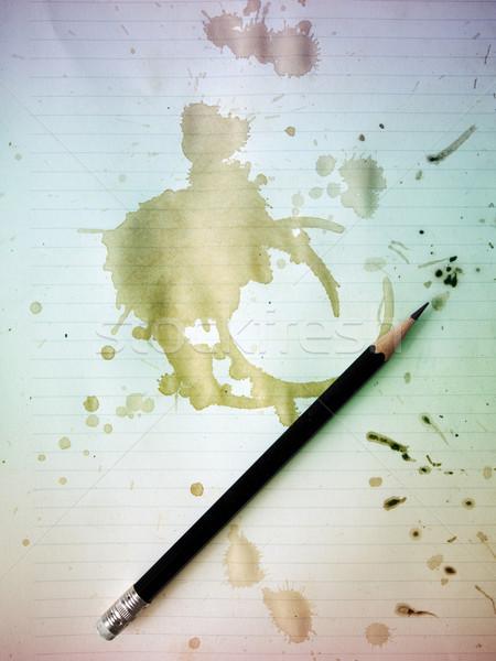 Potlood oud papier zwarte grunge koffie Stockfoto © nuttakit