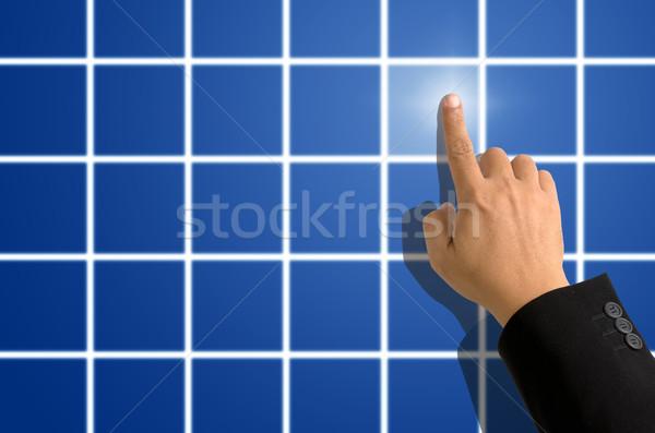 Wijsvinger wijzend Blauw vierkante zwart pak business Stockfoto © nuttakit