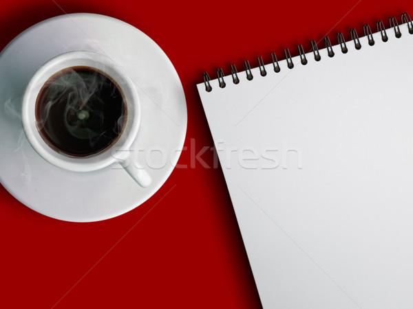 Beker hot koffie notebook witte koffie Stockfoto © nuttakit