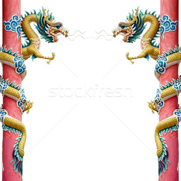 близнец Китайский дракон вокруг красный полюс белый Сток-фото © nuttakit