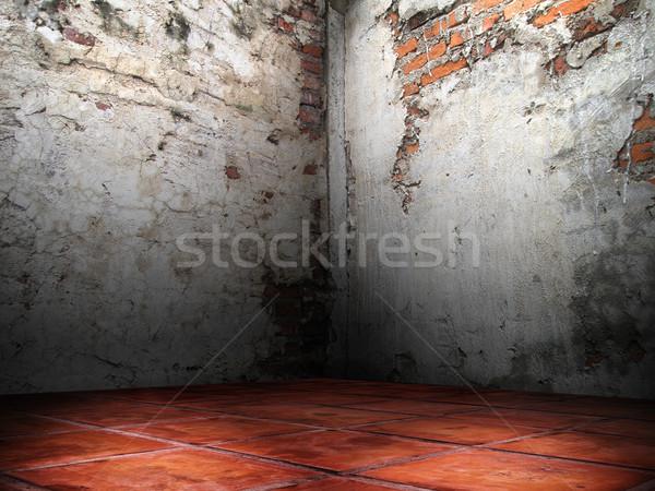 Scheuren baksteen muren hoek kamer cement Stockfoto © nuttakit