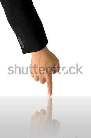 Mutatóujj fehér fekete öltöny kéz stúdió ujj Stock fotó © nuttakit