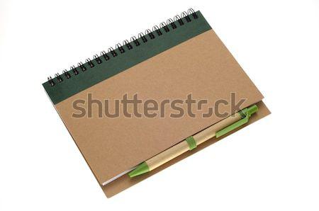Recycleren papier notebook pen geïsoleerd witte Stockfoto © nuttakit