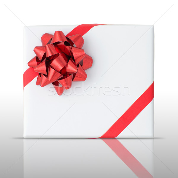 Red star and Oblique line ribbon on White paper box Stock photo © nuttakit