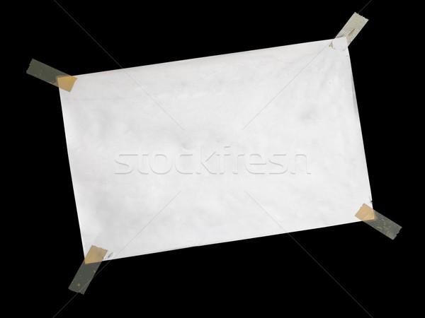 Fehér papír csatolva műanyag szalag fekete Stock fotó © nuttakit
