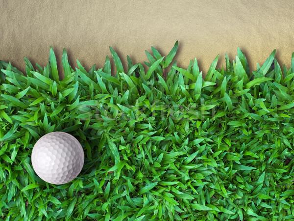 Golfbal groen gras zand hemel boom natuur Stockfoto © nuttakit